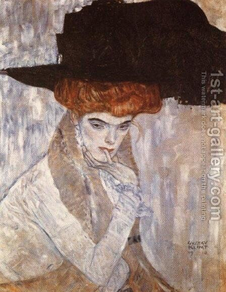 The Black Feather Hat  1910 by Gustav Klimt - Reproduction Oil Painting