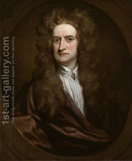 Portrait of Sir Isaac Newton  1702 by Sir Godfrey Kneller - Reproduction Oil Painting