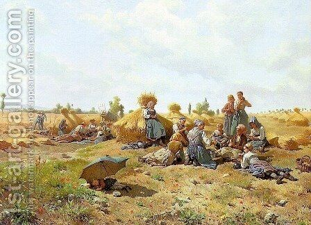 Harvest Repast  1875 by Daniel Ridgway Knight - Reproduction Oil Painting