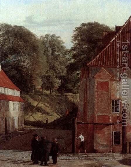 A View of the Square in the Kastel Looking Towards the Ramparts c. 1830 by Christen Kobke - Reproduction Oil Painting