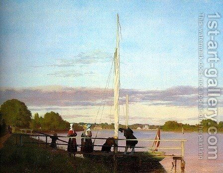 View of Osterbro from Dosseringen  1838 by Christen Kobke - Reproduction Oil Painting