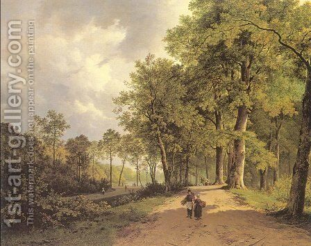 View of a Park  1835 by Barend Cornelis Koekkoek - Reproduction Oil Painting