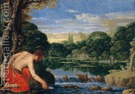 Wooded River Landscape with St John the Baptist  c. 1610 by Johann Konig - Reproduction Oil Painting