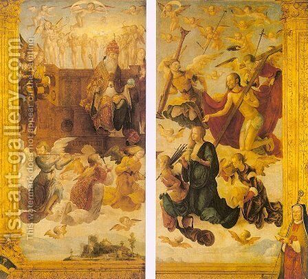 Christ and the Virgin before God the Father by Hans Suss von Kulmbach - Reproduction Oil Painting