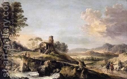 Pastoral Landscape with Figures by Jean-Baptiste Lallemand - Reproduction Oil Painting