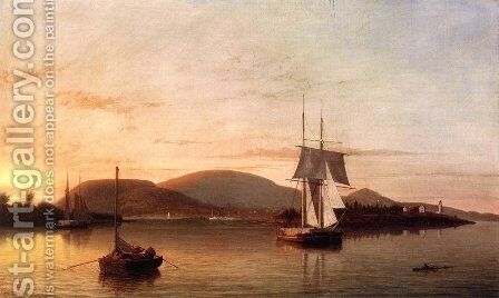 Camden Mountains from the South Entrance to the Harbor  1859 by Fitz Hugh Lane - Reproduction Oil Painting