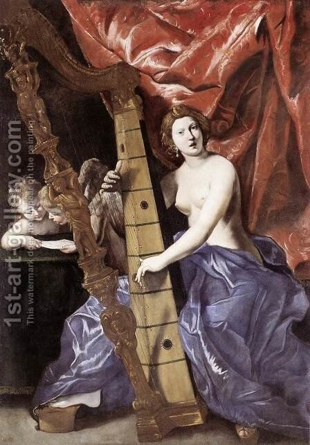 Venus Playing the Harp (Allegory of Music) 1630-34 by Giovanni Lanfranco - Reproduction Oil Painting