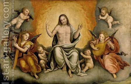Triumph of Christ with Angels and Cherubs by Bernardino Lanino - Reproduction Oil Painting