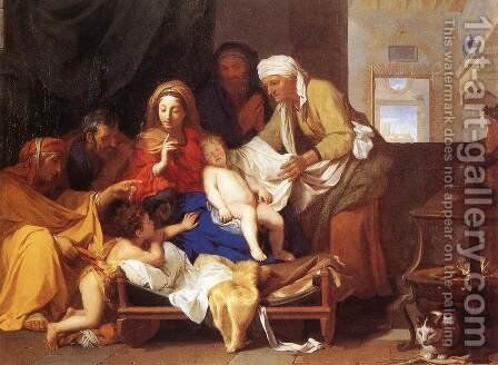 Holy Family with the Adoration of the Child  1655 by Charles Le Brun - Reproduction Oil Painting