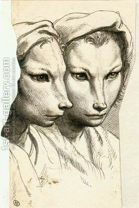 Physiognomic Heads Inspired by a Weasel c. 1670 by Charles Le Brun - Reproduction Oil Painting