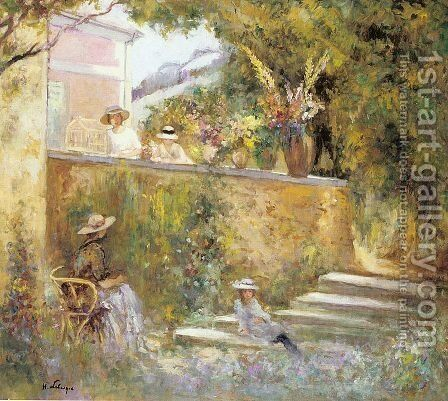Nono and Marthe in the Garden with Madame Lebasque by Henri Lebasque - Reproduction Oil Painting
