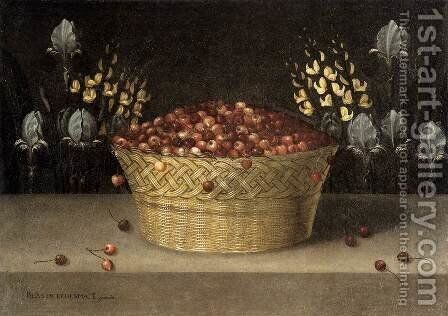 Basket of Cherries and Flowers c. 1620 by Blas de Ledesma - Reproduction Oil Painting