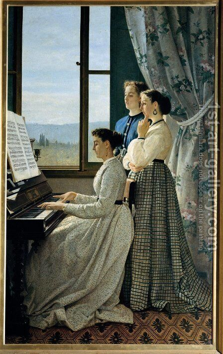 The Folk Song  1867 by Sylvestro Lega - Reproduction Oil Painting