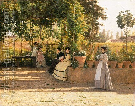 The Pergola  1868 by Sylvestro Lega - Reproduction Oil Painting