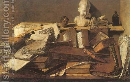 Still Life of Books  1628 by Master Leiden - Reproduction Oil Painting