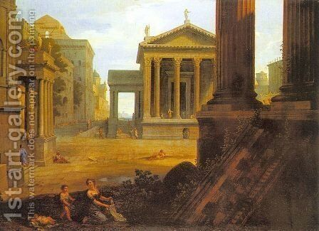 Square in an Ancient City  1763-64 by Jean Lemaire - Reproduction Oil Painting
