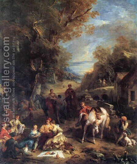 Hunting Picnic  1723 by Francois Lemoine (see Lemoyne) - Reproduction Oil Painting