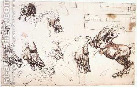 Study of horses for the Battle of Anghiari 1503-04 by Leonardo Da Vinci - Reproduction Oil Painting