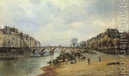Quais of the Seine, Pont-Marie  1868 by Stanislas Lepine - Reproduction Oil Painting