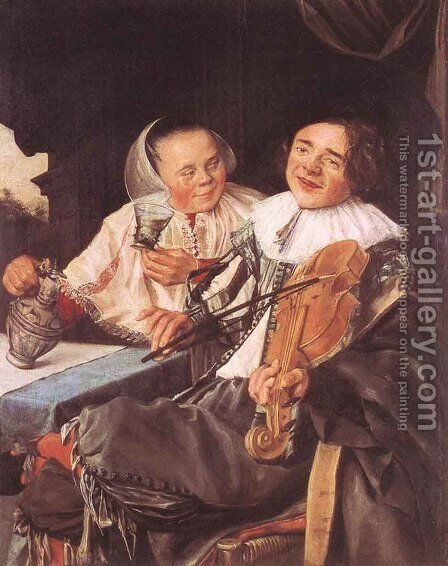 Carousing Couple  1630 by Judith Leyster - Reproduction Oil Painting