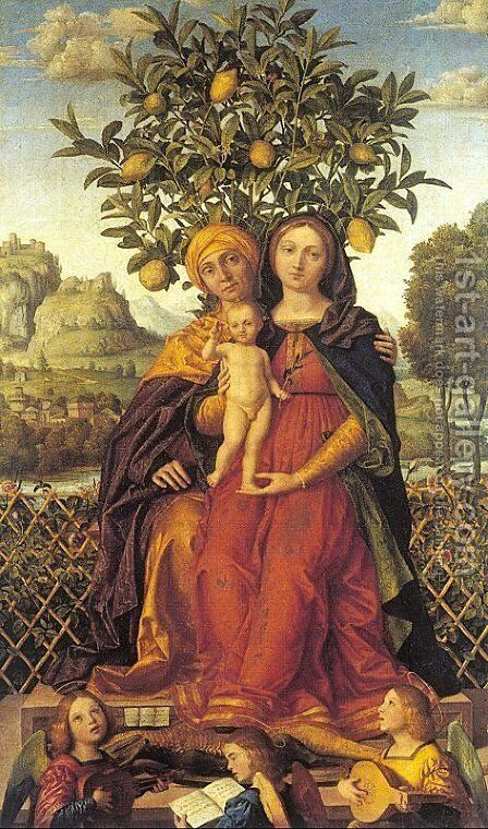 The Virgin and Child with Saint Anne  1510-15 by Girolamo dai Libri - Reproduction Oil Painting