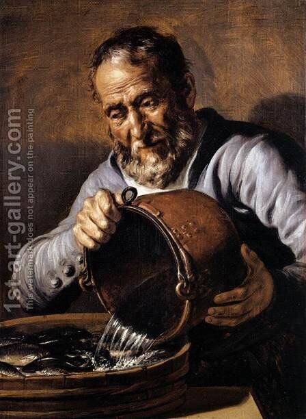 The Four Elements and Ages of Man:  Water and Old Age c. 1668 by Jan Lievens - Reproduction Oil Painting