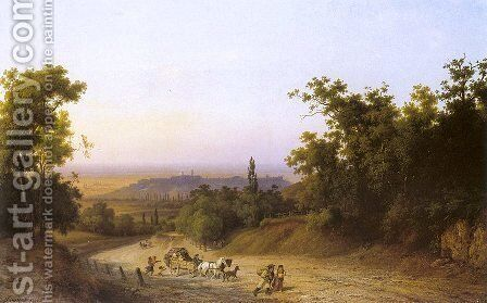 Martonhegy Road  1876 by Antal Ligeti - Reproduction Oil Painting