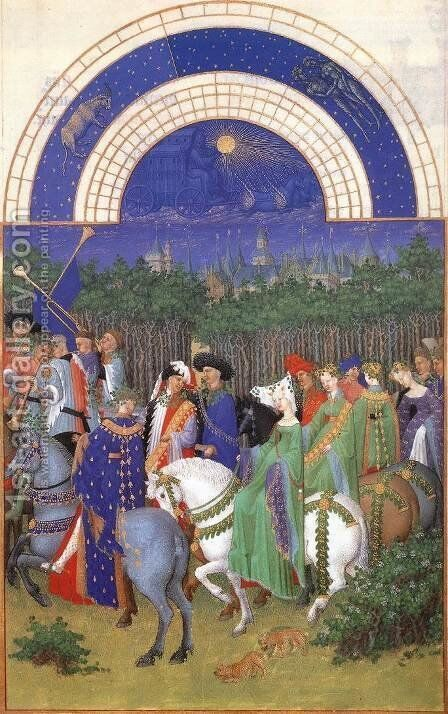 Les tres riches heures du Duc de Berry- Mai (May) 1412-16 by Jean Limbourg - Reproduction Oil Painting