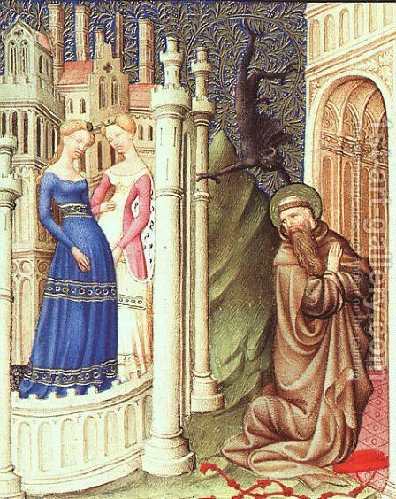 Belles Heures de Duc du Berry -Folio 186-  St. Jerome Tempted by Dancing Girls  1408-09 by Jean Limbourg - Reproduction Oil Painting