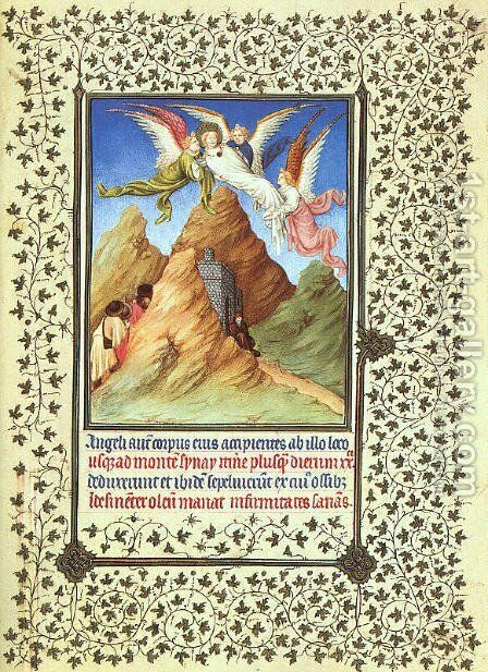 Belles Heures de Duc du Berry -Folio 20-  St. Catherine's Body Carried to Mt. Sinai  1408-09 by Jean Limbourg - Reproduction Oil Painting