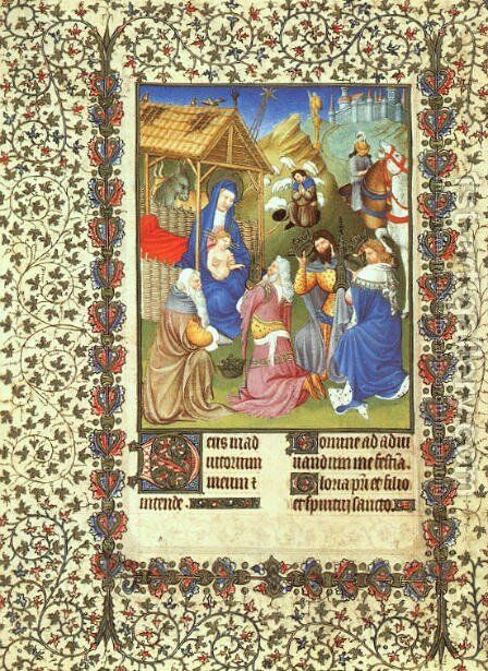 Belles Heures de Duc du Berry  -Folio 54- The Adoration of the Magi  1408-09 by Jean Limbourg - Reproduction Oil Painting