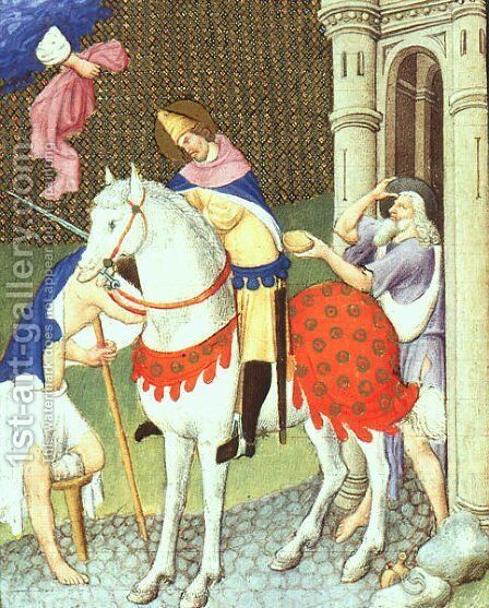 Belles Heures de Duc du Berry  -Folio 169-  St. Martin with a Beggar  1408-09 by Jean Limbourg - Reproduction Oil Painting