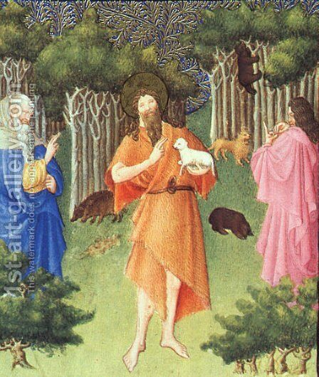 Belles Heures de Duc du Berry  -Folio 211-  St. John the Baptist in the Wilderness  1408-09 by Jean Limbourg - Reproduction Oil Painting