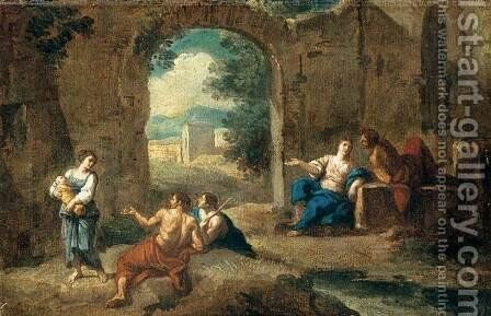 Figures in a Landscape by Andrea Locatelli - Reproduction Oil Painting