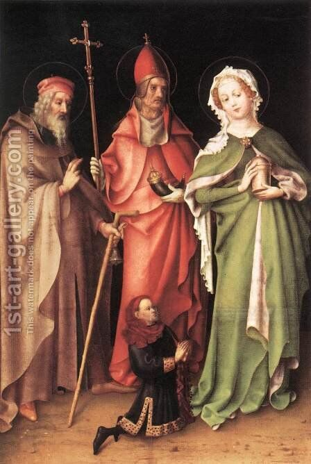 Saints Catherine, Hubert and Quirinus with a Donor c.  1435 by Stefan Lochner - Reproduction Oil Painting