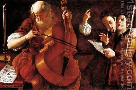 Concert with Two Singers by Giovanni Domenico Lombardi - Reproduction Oil Painting