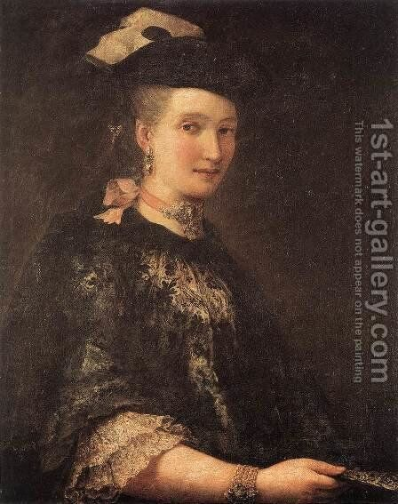Portrait of a Lady c. 1770 by Alessandro Longhi - Reproduction Oil Painting