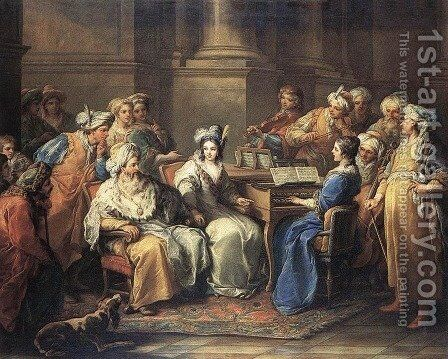 The Grand Turk Giving a Concert to his Mistress 1737 by Carle van Loo - Reproduction Oil Painting