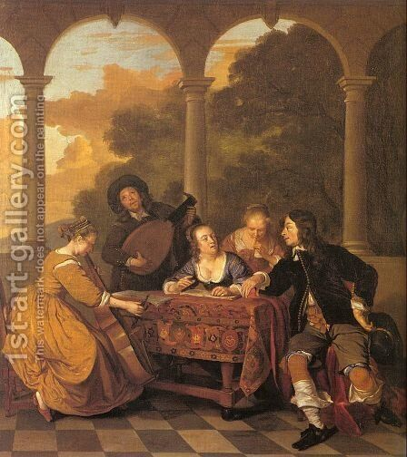 Musical Party on a Terrace  1650 by Jacob van Loo - Reproduction Oil Painting