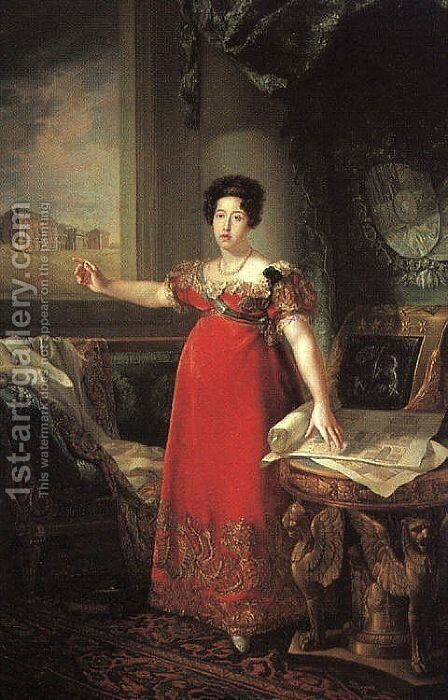 Isabella of Braganza, Second Wife of Ferdinand VII  1829 by Bernardo Lopez - Reproduction Oil Painting