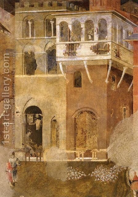 Effects of Bad Government on the City Life (detail) 2 by Ambrogio Lorenzetti - Reproduction Oil Painting