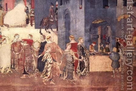 Effects of Good Government on the City Life (detail-6)  1338-40 by Ambrogio Lorenzetti - Reproduction Oil Painting