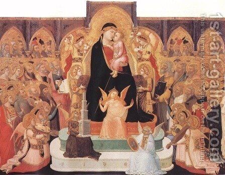 Madonna with Angels and Saints (Maesta) c. 1335 by Ambrogio Lorenzetti - Reproduction Oil Painting