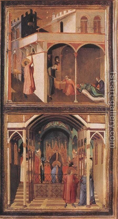 Scenes of the Life of St Nicholas c. 1332 by Ambrogio Lorenzetti - Reproduction Oil Painting