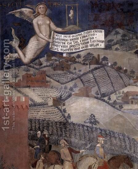 The Effects of Good Government in the Countryside (detail-3) 1338-40 by Ambrogio Lorenzetti - Reproduction Oil Painting