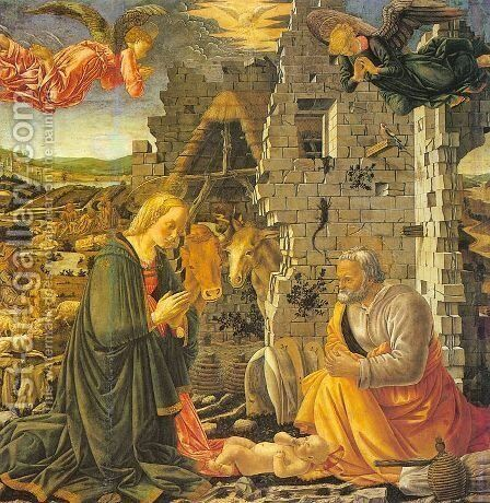 The Nativity by Master of the Louvre Nativity - Reproduction Oil Painting