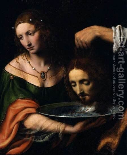 Salome Receiving the Head of John the Baptist by Bernardino Luini - Reproduction Oil Painting