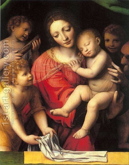 The Virgin Carrying the Sleeping Child with Three Angels by Bernardino Luini - Reproduction Oil Painting