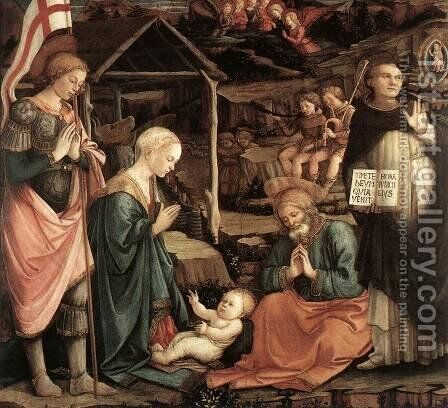 Adoration of the Child with Saints 1460-65 by Fra Filippo Lippi - Reproduction Oil Painting