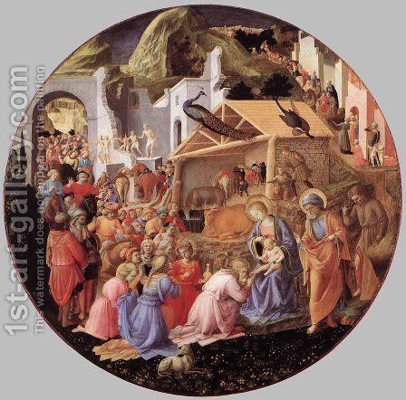 Adoration of the Magi c. 1445 by Fra Filippo Lippi - Reproduction Oil Painting